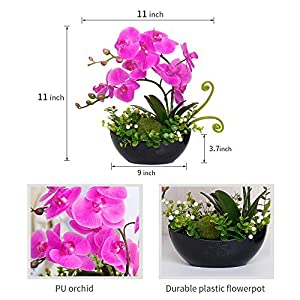 YILIYAJIA Artificial Orchid Bonsai Fake Flowers with Vase Arrangement 5 Head PU Phalaenopsis Bonsai for Home Table Décor 2