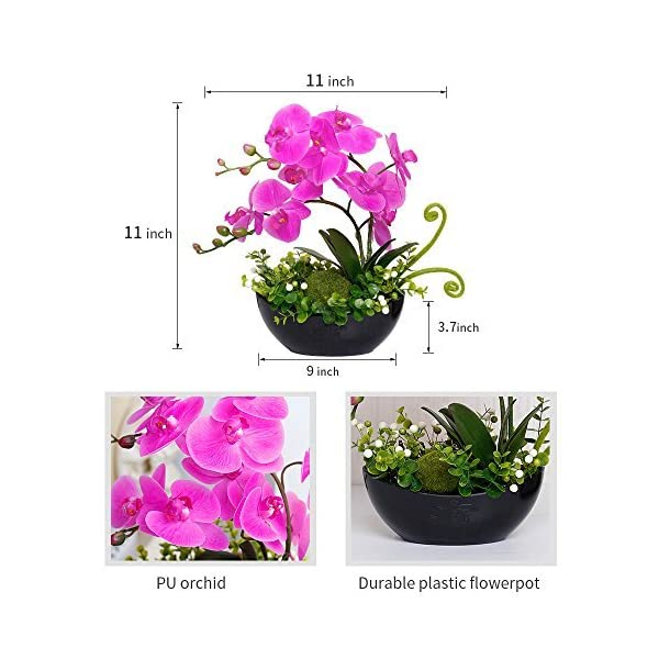 YILIYAJIA-Artificial-Orchid-Bonsai-Fake-Flowers-with-Vase-Arrangement-5-Head-PU-Phalaenopsis-Bonsai-for-Home-Table-Dcor