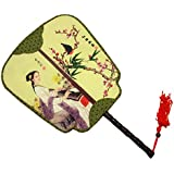 Elegant Silk Fabric Hand Fan Chinese Fan Print Decor Wood Handle, B