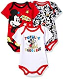Apparel : Disney Baby Boys' Mickey Mouse 3 Pack Bodysuits, Multi/Red, 12M