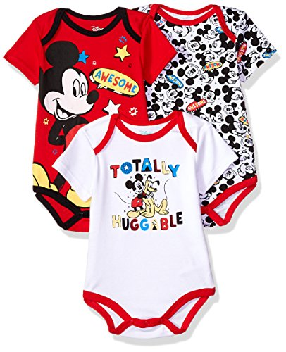Disney Baby Boys' Mickey Mouse 3 Pack Bodysuits, Multi/Red, 12M
