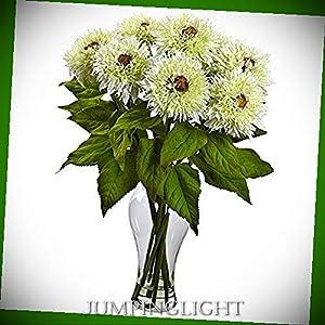 JumpingLight 1360-WH Sunflower Arrangement with Vase, White Artificial Flowers Wedding Party Centerpieces Arrangements Bouquets Supplies 21