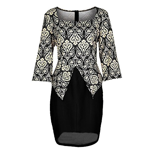 L-6XL Plus Size Womens Sexy Bodycon Dress 3/4 Sleeve Vintage Print Summer Evening Party Stretch OL Short Dress by LUCA (Image #3)