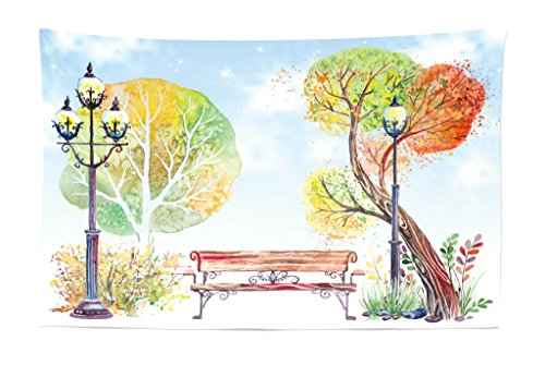 Lunarable Lantern Tapestry, Colorful Fall Trees Wooden Bench in City Park with Blue Sky Autumn Season, Fabric Wall Hanging Decor for Bedroom Living Room Dorm, 45 W X 30 L Inches, Orange Yellow Green]()