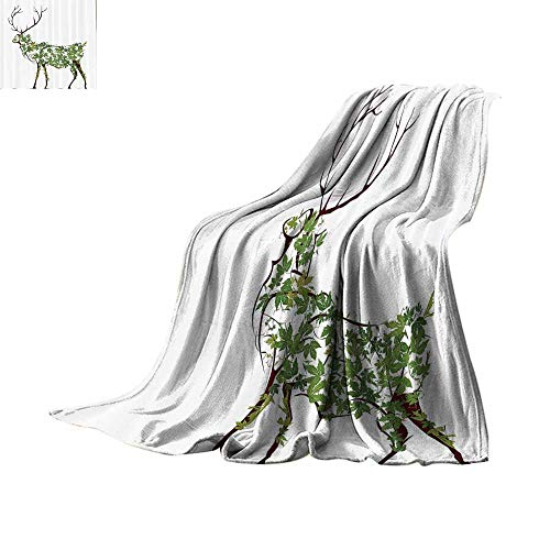 Custom homelife Lightweight Blanket Antlers Decor,Designer Deer Illustration Elk Leave Greenery Garden Traditional Celebration Print Summer Quilt Comforter Bed or Couch 80