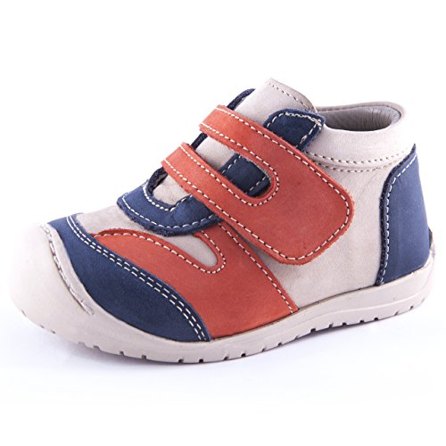 URBAN - LOGAN | Wobbly Waddlers | Baby Boy Blue Leather Shoes Ankle & Arch Support | Size (Arch Support Shoes For Toddlers)