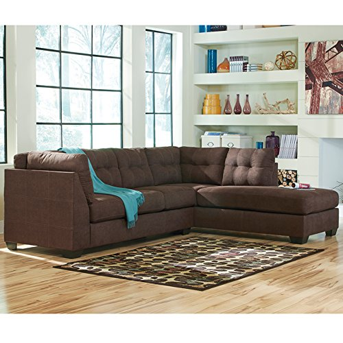 Flash Furniture Benchcraft Maier Sectional with Right Side Facing Chaise in Microfiber, Walnut