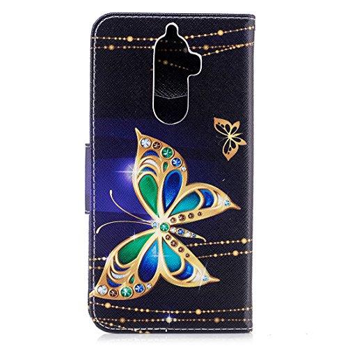 conception avec fermeture protection d'impression Butterfly en portefeuille carte aérosol Note avec de magnétique cuir étui Flip PU Hozor Gold Lenovo en K8 fente support cas peint pour pqXAI6