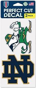WinCrafr NCAA Notre Dame Fighting Irish 4'' x 8'' Set of 2 Die Cut Decals