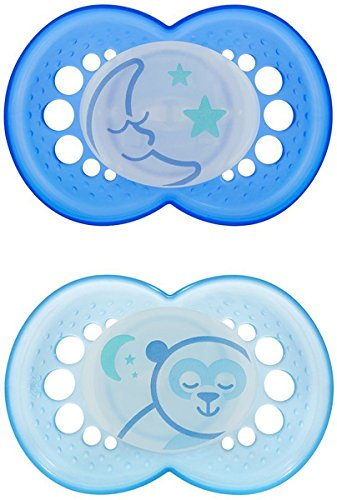 (MAM NIGHT BPA Free Silicone Pacifier, 6 Months, 2 Pack, Colors may)