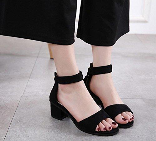 Low Runde mit Sandalen Partei mit offenen Schuhen nach Reißverschluss Freizeit dick mit Sandalen black