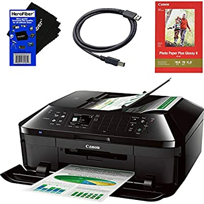 Canon 9600 x 2400 Color dpi Premium Wireless Inkjet Office All-in one Printer with Print, Scan, Copy, Fax & Google Cloud Print Compatible + USB Printer Cable + HeroFiber Cleaning Cloth
