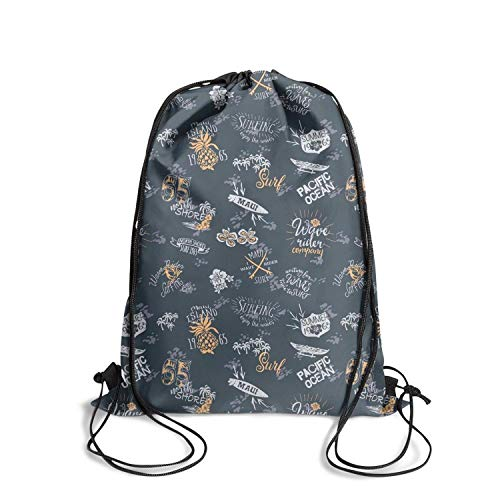 ZKGOD Vintage surf Hawaii Wave Rider Cool Classic Adjustable Drawstring Bag for Hiking Yoga Gym Travel Beach School