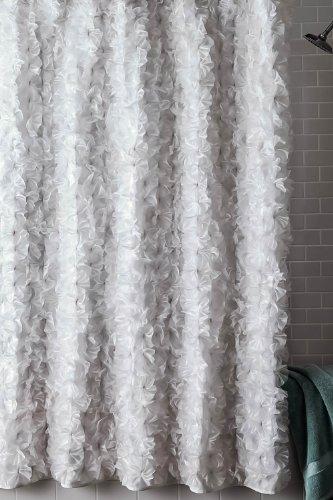 ' Boutonniere' white faux silk shower curtain (70