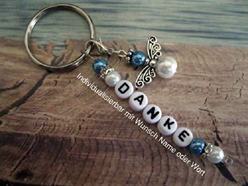 Handmade Schlüsselanhänger, Taschenanhänger Danke in Blau/Weiß mit Schutzengel- Text ist individualisierbar mit Wunschwort oder Namen