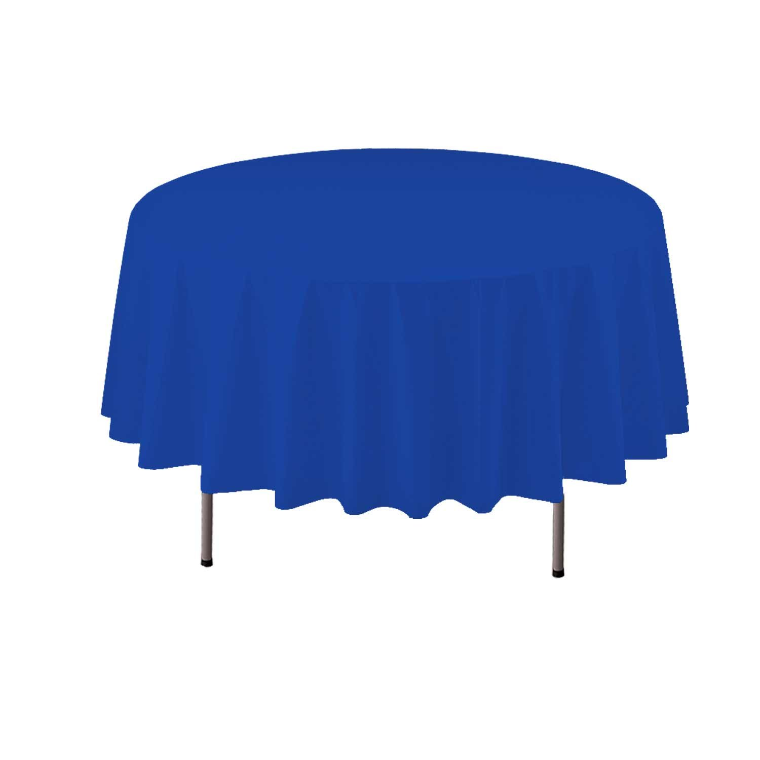Party Essentials Heavy Duty 84'' Round Plastic Table Cover Available in 22 Colors, Royal Blue