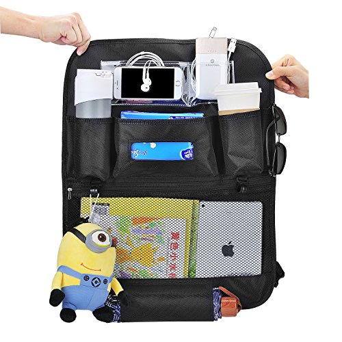 PLUSINNO Car Seat Back Organizer, Multi-Pocket Travel Storage Bag, Trash Bag for Toys, Snacks, Cans, Drinks (Enhanced Version)