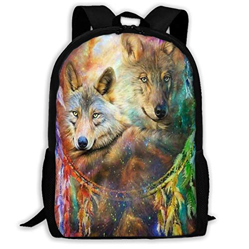 Magic Wolf Dream Catcher Adult Backpack School Bag Business Backpack Travel Pack