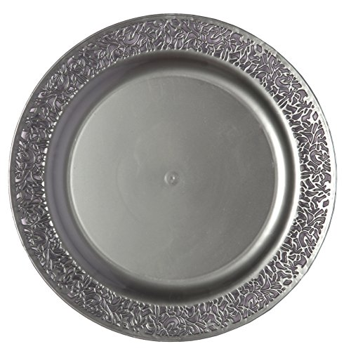 Party Joy 'I Can't Believe It's Plastic' 200-Piece Plastic Dinner Plate Set | Lace Collection | Heavy Duty Premium Plastic Plates for Wedding, Parties, Camping & More (Grey)