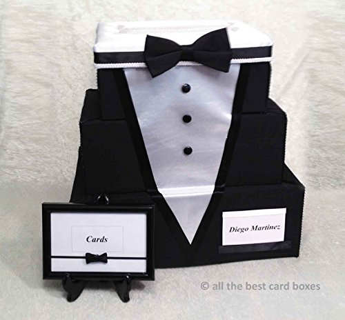 Tuxedo Wedding Card Box, Card Holder, 3 Tier Stacked, Black and White, Black fabric, White Satin,Handmade, allthebestcardboxes
