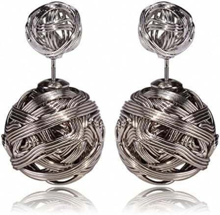 megko Fashion Metal Iron Stud Earrings Double Balls Earring for womens