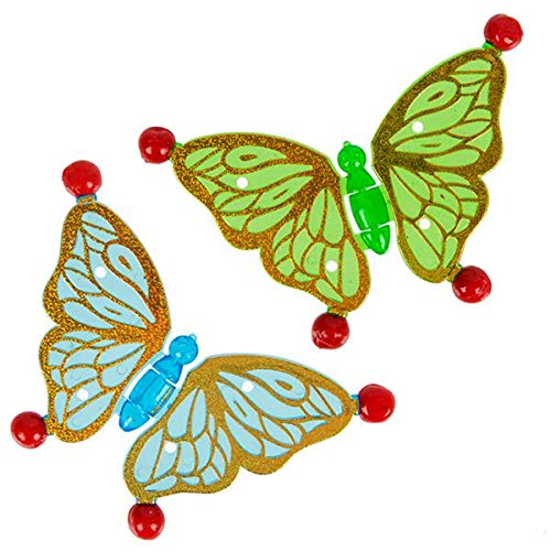 """(Sticky Butterfly Wall Climbers – 3.25"""" by 2.5"""" Fun Wall Crawler Toys for Kids – Pack of 24 Butterflies by Forest & Twelfth Kids)"""