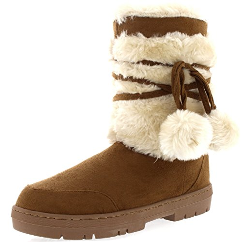 Womens Pom Pom Waterproof Winter Snow Boots Light Tan BsWrOJYbCc