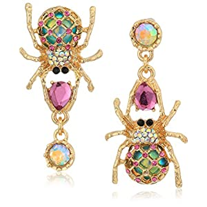 Best Epic Trends 51OqNhHeNhL._SS300_ Betsey Johnson Women's Creepshow Spider Non-Matching Drop Earrings Pink/Antique Gold Drop Earrings