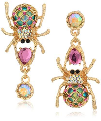 Betsey Johnson Pendientes colgantes Creepshow Spider para mujer que no combinan Pendientes colgantes de oro rosa / antiguo