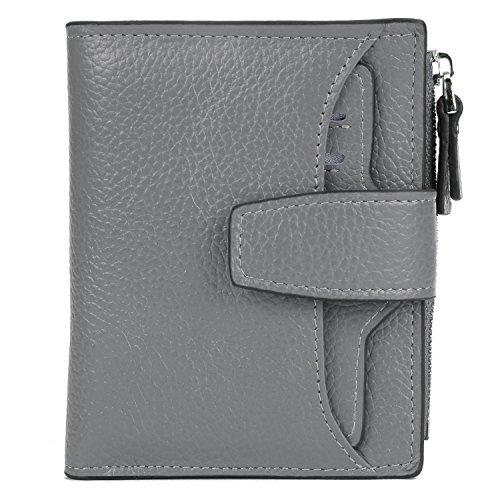 (AINIMOER Women's RFID Blocking Leather Small Compact Bi-fold Zipper Pocket Wallet Card Case Purse (Lichee Gray))
