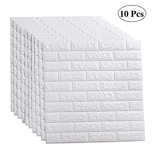 Self Adhesive Wall - LEISIME 3D Wall Sticker Self-Adhesive Wall Panels Waterproof PE Foam White Wallpaper for Living Room TV Wall and Home Decor (Brick 10 Pack - 58 Sq Ft)