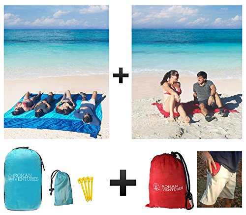 Roman Ventures Oversized Beach Blanket (10'x 9') AND Compact Outdoor Pocket Blanket COMBO PACK. Premium Ripstop Nylon. Repels Sand And Moisture. Great For Beach, Parks, Picnics, Hiking (Solo Backpack Picnic)