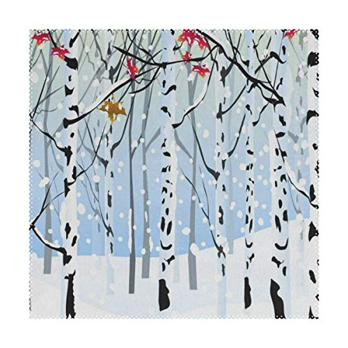 Placemats Winter Forest Bird Square Place Mats for Dining Washable Polyester Kitchen Kids Table Coffee Mats set of 4 ()