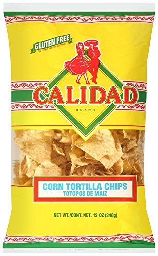 Calidad Yellow Corn Tortilla Chips | Gluten Free, Trans Fat Free | Mexican Restaurant Style Chips | 12 oz