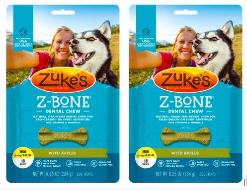 - Zuke's Z-Bones Natural Grain-Free Dental Chew Mini (Pack of 2), Apple - 36 Chew Bones Total