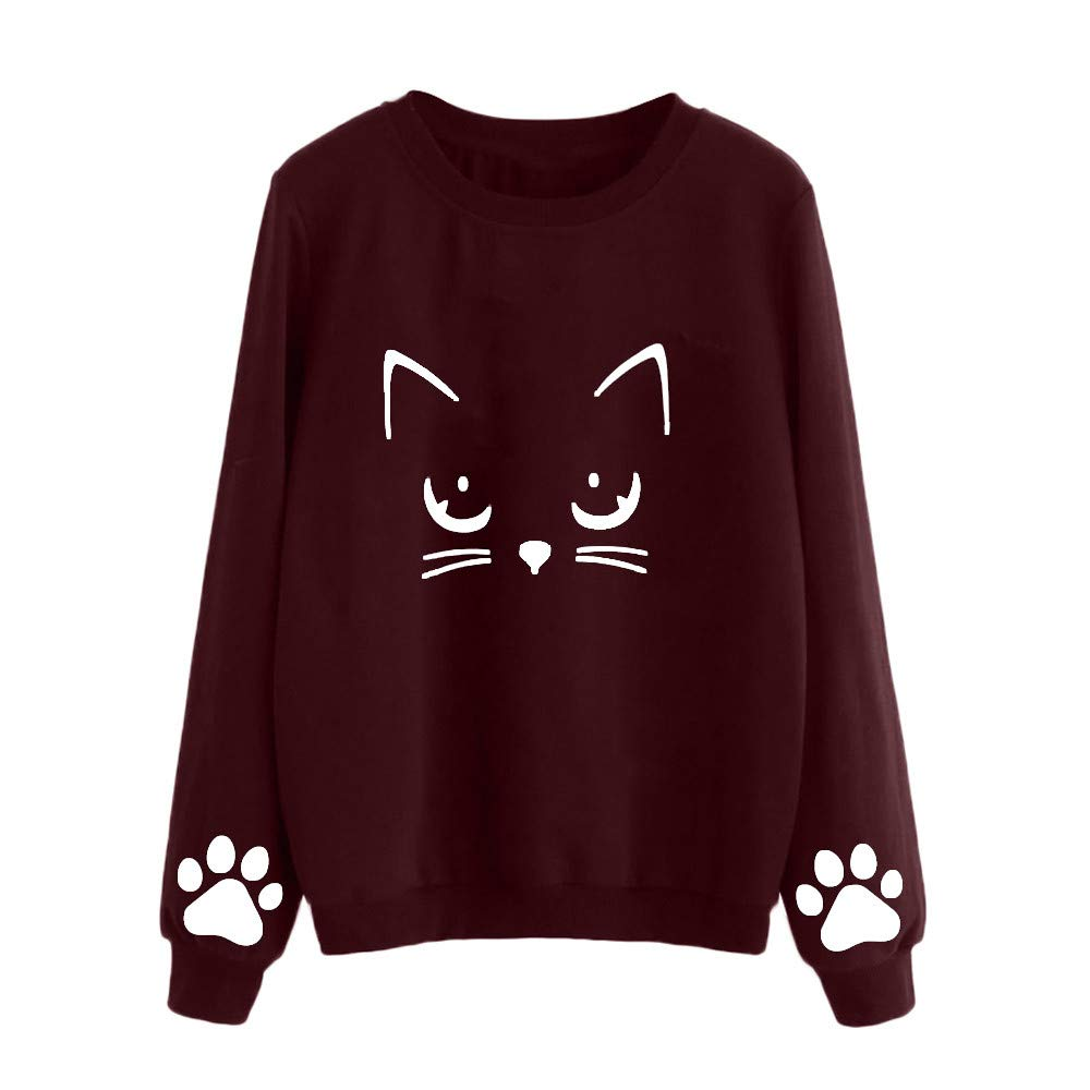 Sunmoot Plus Size Women Autumn Winter Cat Weater Print Round Neck Long Sleeve Regular Blouse Top T Shirt at Amazon Womens Clothing store: