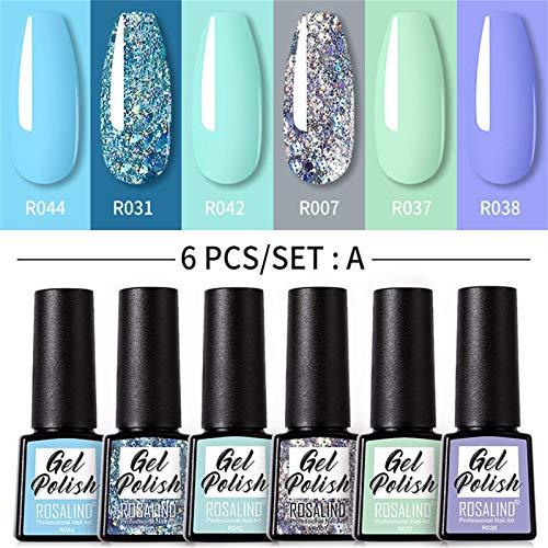 6 Pcs Gel Nail Polish Set-Mood Temperature Color Changing Gel Polish Long Lasting Soak Off Nail Lamp for Nail Art (#01)