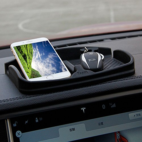 Anti-Slip Car Dash Grip Pad for Cell Phone, Keychains, Sun Glasses,Stand for Navigation Cell Phone (Black)