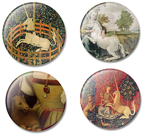 Fridge Art Magnet Unicorns throughout Art History, Set of 4 Refrigerator Magnets with Beautiful Unicorn Illustrations, Gift Set for Home or Office, Made in (Famous Duo Costumes)