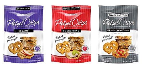 Snack Factory Deli Style Pretzel Crisps 3 Flavor Variety Bundle, (1) each: Sesame, Everything, Sea Salt & Cracked Pepper (7.2 (Sesame Pretzels)