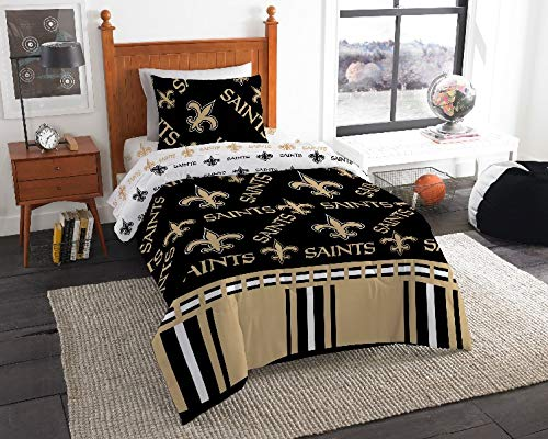 4 Piece NFL New Orleans Saints Comforter Twin Set, Sports Patterned Bedding, Featuring Team Logo, Fan Merchandise, Team Spirit, Football Themed, National Football League, Black, Grey, Unisex