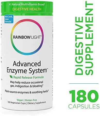 Rainbow Light - Advanced Enzyme System - Plant-Sourced Whole Food Enzyme Supplement, Supports Nutrient Absorption and Digestive Health; Vegan and Gluten-Free - 180 vCaps