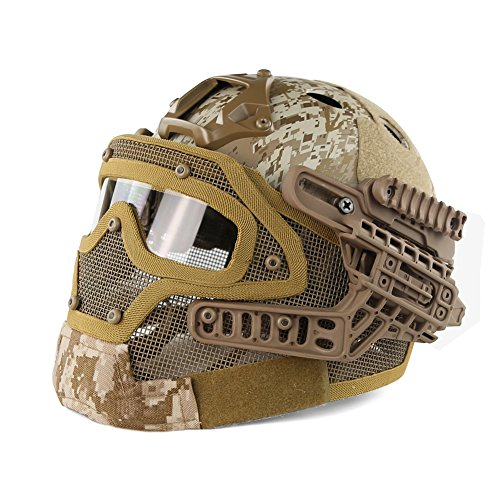 LOOGU Fast Tactical Helmet Combined with Full Mask and Goggles for Airsoft Paintball CS (AOR1)