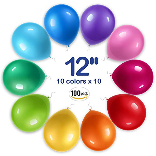 WinkyBoom Balloons Assorted Color 12 inch 100 Pcs Helium Quality Latex for Party Decoration by WinkyBoom