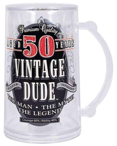 50th Vintage Dude Tankard Beer Mug Fifty Birthday Gift Over the Hill