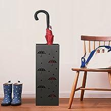 Reliancer 21.65'' Metal Umbrella Stand Rack Umbrella Holder Indoor Square Free Standing Entryway Umbrella Walking Canes Organizer Home Office Decor w/ Two Hooks (Umbrella Pattern,Black)