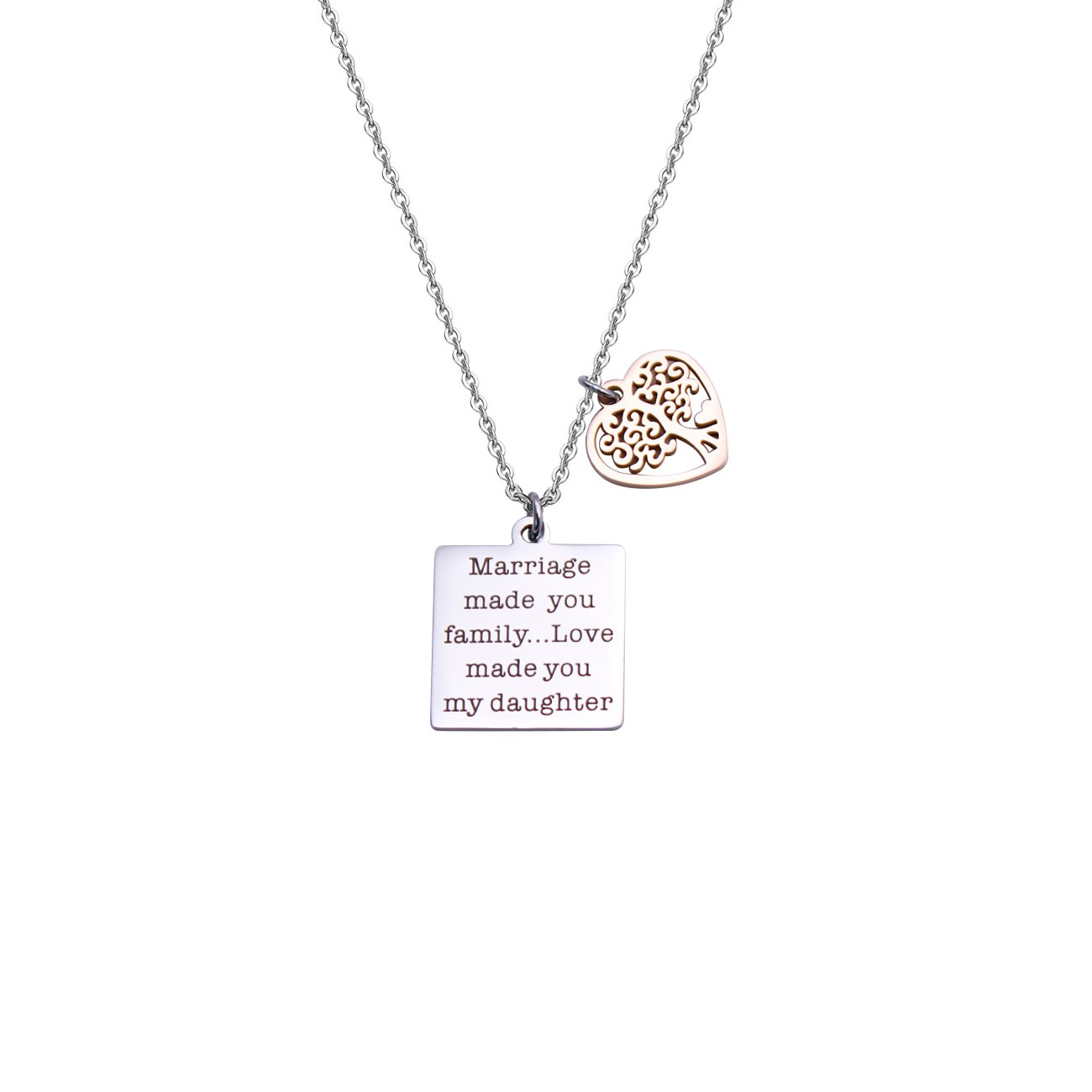 DYbaby Wedding Jewelry Gift-Marriage Made You My Family Love Made You My Daughter Pendant Necklace for Stepdaughter and Daughter in Law (Necklace)