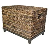 Brown Wicker Storage Trunk / Coffee Table by Threshold For Sale