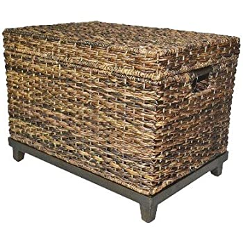 Amazoncom Brown Wicker Storage Trunk Coffee Table By Threshold
