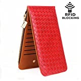 LETMEBUY Wallets for Women Card Case Leather RFID Blocking Bifold Wallet with Zipper Pocket,KL822-red